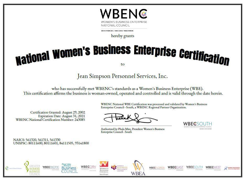 wbe certified certification shreveport
